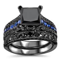 Noori 14k Black Gold 4 1/4ct TDW Certified Black Diamond and Blue Sapphire Bridal Ring Set