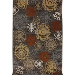 Audrey Grey Floral Medallion Area Rug (5'3 x 7'10)