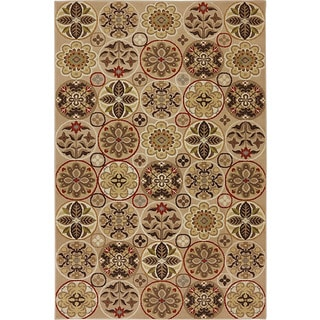 Sand Beige Floral Quilted Area Rug (5'3 x 7'10)