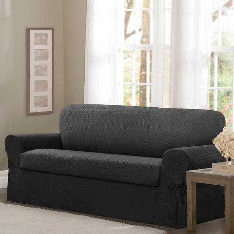 "Maytex Conrad Stretch Fabric Two-piece Loveseat Slipcover - 34"" high/58-73"" wide/38"" deep"