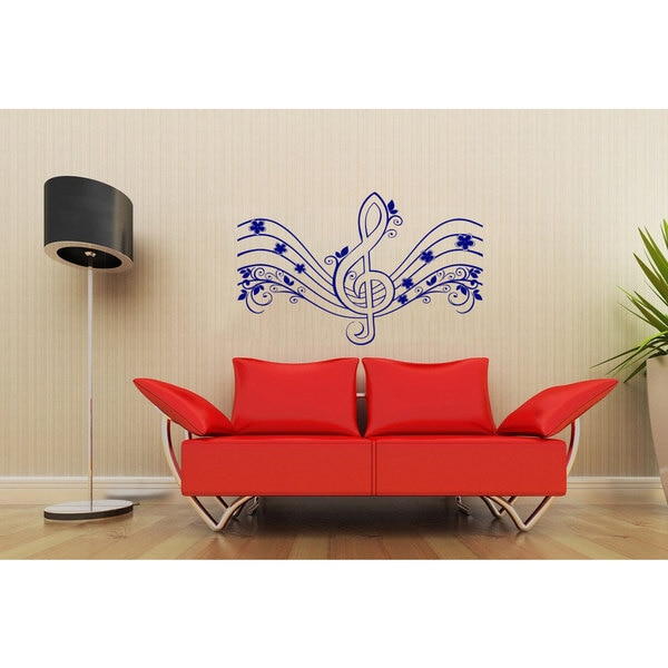Floral Treble Clef Inspirational Sticker Vinyl Wall Art - Free ...