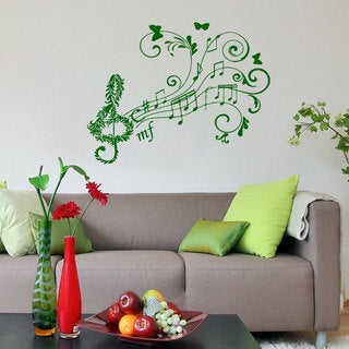 Treble Clef Floral Music Inspirational Sticker Vinyl Wall Art