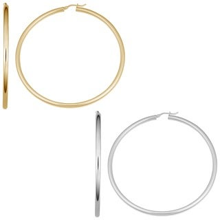 Fremada Yellow Gold or Sterling Silver Hoop Earrings
