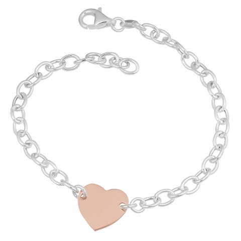 Argento Italia Two-tone Sterling Silver Polished Heart Bracelet (7.5 inches)