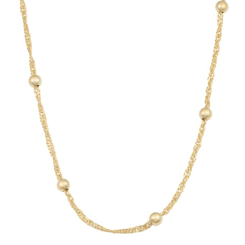 Fremada 14k Yellow Gold Over Sterling Silver Singapore Bead Station Necklace (16 - 30 inches)
