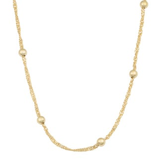 Fremada 14k Yellow Gold Over Sterling Silver Singapore Bead Station Necklace (16 - 30 inches) (5 options available)