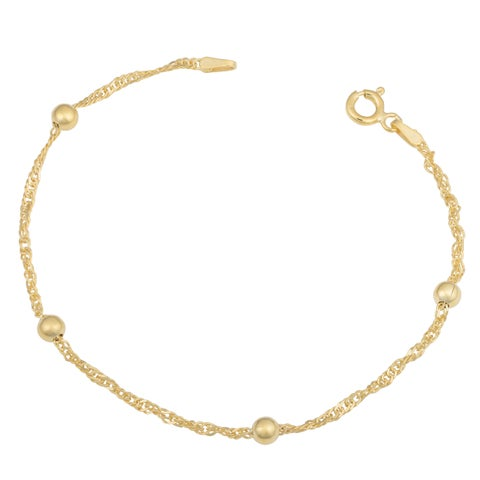 Fremada 14k Yellow Gold Over Sterling Silver Singapore Bead Station Bracelet (7.5 inches)