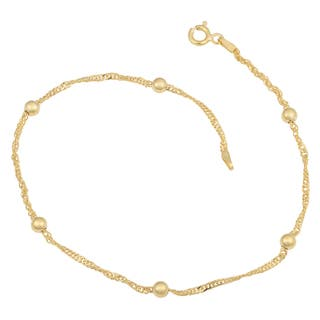 Fremada 14k Yellow Gold Over Sterling Silver Singapore Bead Station Anklet (10 inches)|https://ak1.ostkcdn.com/images/products/10033025/P17178856.jpg?impolicy=medium