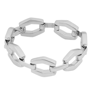 Argento Italia Rhodium Plated Sterling Silver Bold Fancy Link Bracelet 7 5 Inches