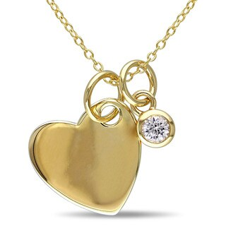 Miadora Yellow Plated Sterling Silver Created White Sapphire Heart Charm Necklace