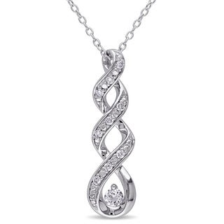 Miadora Silver Created White Sapphire and 1/10ct TDW Diamond Infinity Necklace (G-H,I2-I3)