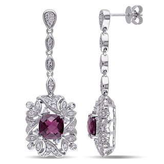 Miadora Signature Collection 14k White Gold Rhodolite, Sapphire and 1/8ct TDW Diamond Earrings (G-H, SI1-SI2)