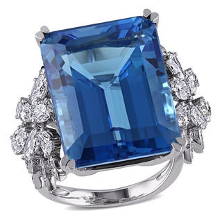 Miadora 14k White Gold Blue Topaz and 1 3/4ct TDW Diamond Ring (G-H, SI1-SI2)