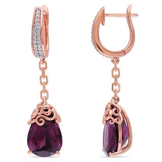 Miadora Signature Collection 14k Rose Gold Rhodolite and 1/6ct TDW Diamond Earrings (G-H, SI1-SI2)