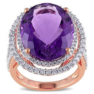 Miadora 14k Rose Gold Amethyst and 7/8ct TDW Diamond Ring (G-H, SI1-SI2) (5 options available)