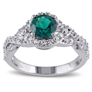 Miadora Sterling Silver Created Emerald and Created White Sapphire Ring