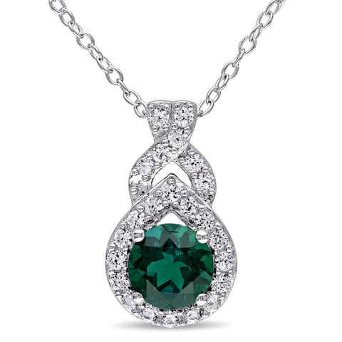 Miadora Sterling Silver Created Emerald and White Sapphire Drop Necklace