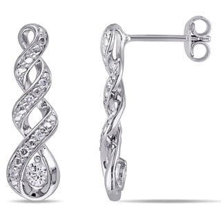 Miadora Silver Created White Sapphire and 1/10ct TDW Diamond Infinity Earrings (G-H,I2-I3)