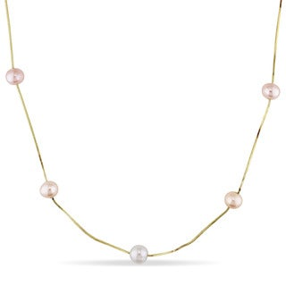 Miadora 14k Yellow Gold Cultured White, Pink and Peach Freshwater Pearl Necklace (6-7 mm)