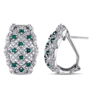 Miadora Sterling Silver Simulated Emerald and Created White Sapphire Earrings