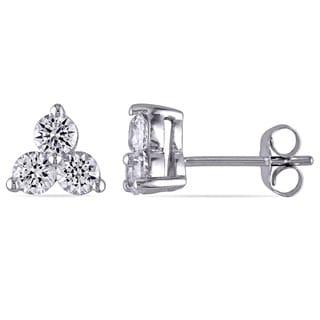 Miadora 10k White Gold Created White Sapphire 3-stone Stud Earrings