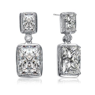 Collette Z White Cubic Zirconia Sterling Silver Square Dangle Earrings