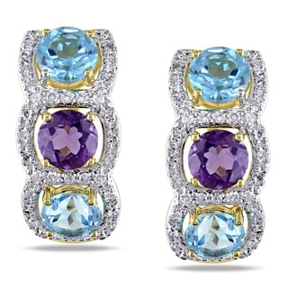 Miadora 14k Yellow Amethyst, Blue Topaz and 1/3ct TDW Diamond 3-stone Earrings (H-I, I1-I2)