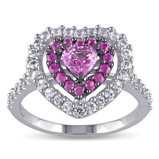 Miadora 14k White Gold Pink and White Sapphire Heart Ring