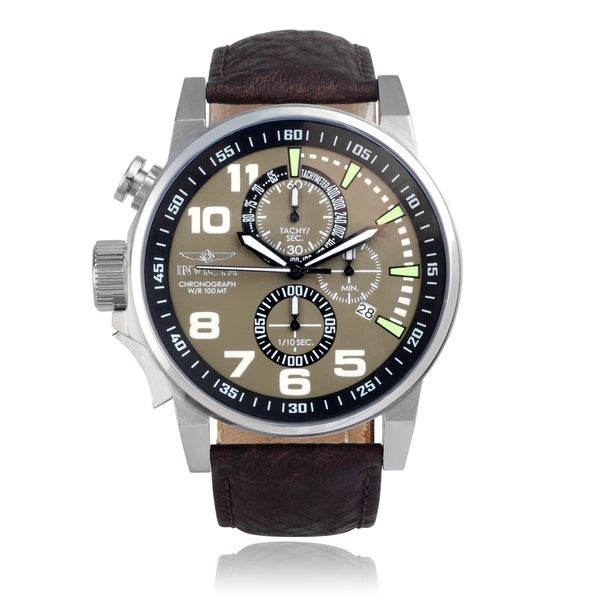 Invicta Men's 'Force' 13054 Lefty Chronograph Leather Band Watch