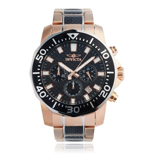Invicta Men's 'Pro Diver' 17255 Chronograph Rose Gold-plated Two Tone Link Watch