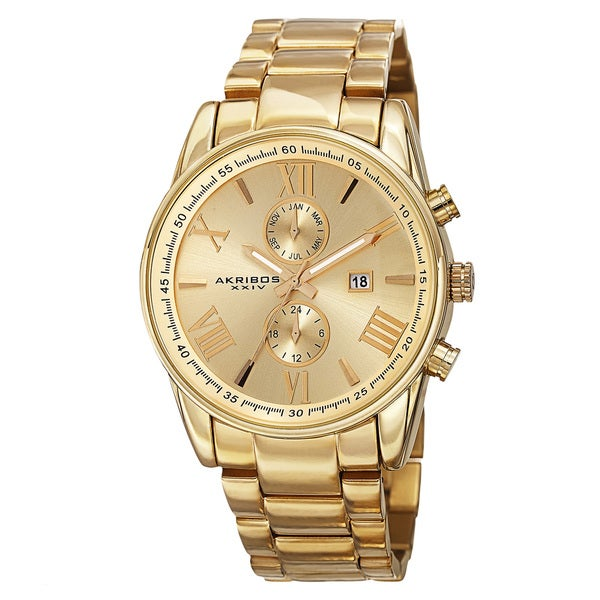 Akribos XXIV Men's Swiss Quartz Dual-Time Multifunction Stainless Steel Gold-Tone Bracelet Watch. Opens flyout.