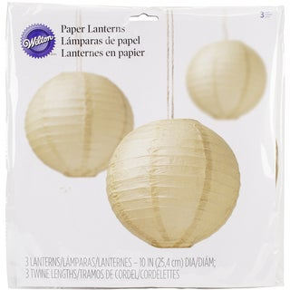"Paper Lanterns 10"" 3/Pkg-Kraft"