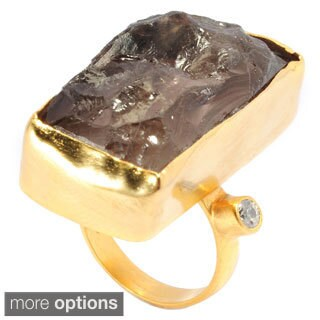 Goldplated Brass Elongated Rough Gemstone and Simulated Diamond Ring
