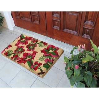 First Impression Handwoven Wildflowers Extra Thick Coir Door Mat (1'6 x 2'6 x 1.5')