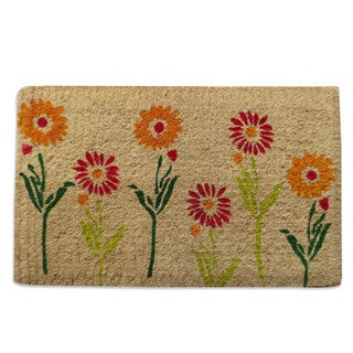 First Impression Spring Flowers Extra Thick Decorative Coir Door Mat (1'6 x 2'6)