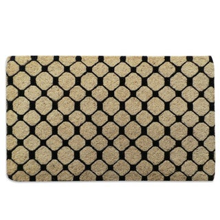 First Impression Black Check Pattern Extra thick Decorative Coir Mat (1'6 x 2'6)