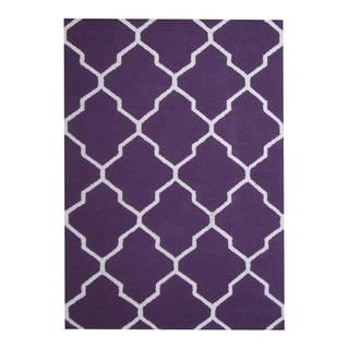 Herat Oriental Indo Hand-tufted Contemporary Design Purple/ Ivory Wool Rug (5' x 7')