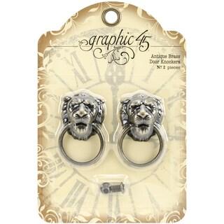 """Staples Door Knockers 2/Pkg-Antique Brass 2""""X1.2""""X.6"""""""