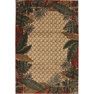 Machine Woven Tropical Rain Forest Ruby Polypropylene Rug (5'3x7'10)