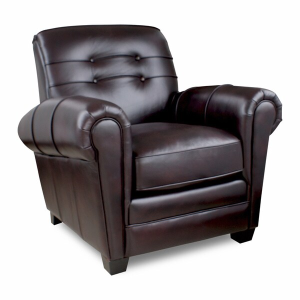 Shop Aaron Leather Press Back Leigh Black Cherry Chair