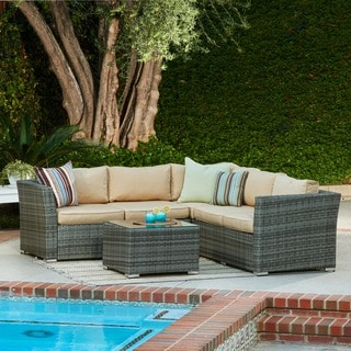the-Hom Mirge 4-piece Beige Wicker Patio Set