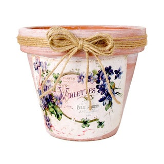 Clay Pot with Violettes Embellishment and Twine Bow