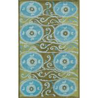 Hand-tufted Suzani Tile Blue Wool and Artificial Silk Area Rug (5' x 8')