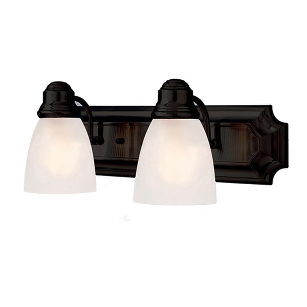 Cambridge 2-Light Rubbed Oil Bronze 18 in. Bath Vanity with Frosted Glass