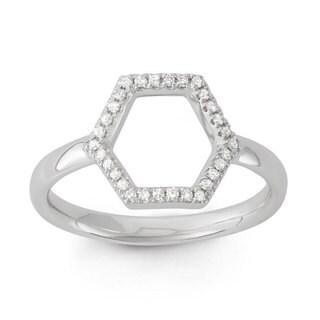 14k White Gold 1/10ct TDW Diamond Hexagon Midi Ring