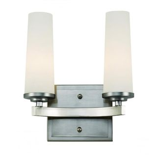 Cambridge 2-Light Satin Nickel 9 in. Bath Vanity with White Glass