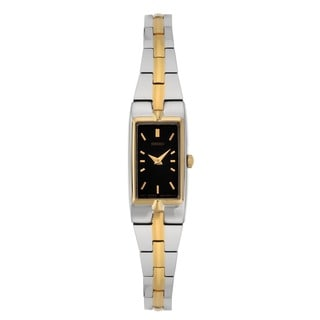 Seiko Women's SZZC42 Stainless Steel Two-tone Black Dial Watch