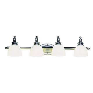 Cambridge 4-Light Antique Nickel 32 in. Bath Vanity with White Glass