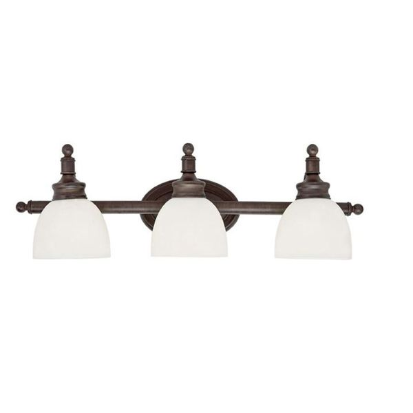 Cambridge 3 Light Rubbed Oil Bronze 27 In Bath Vanity With White Glass Fre