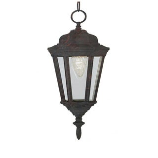 Cambridge 1-Light Black Copper 17.25 in. Outdoor Hanging Lantern with Clear Glass